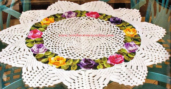 Centro de mesa floral em croche com receitas e gr ficos em - Centros de mesa de ganchillo ...