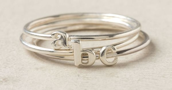Anthropologie Wee Initial Ring stacking rings