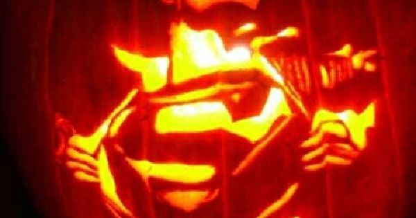 Superman Carved Into A Pumpkin Science Fiction
