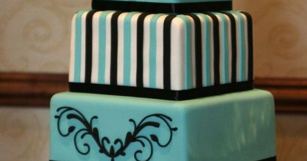 Black and turquoise wedding cake...great ideas for birthday cake designs in each