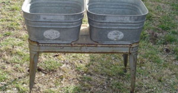 Antique Wheeling Double WASH TUBS galvanized with stand vintage Local Pickup