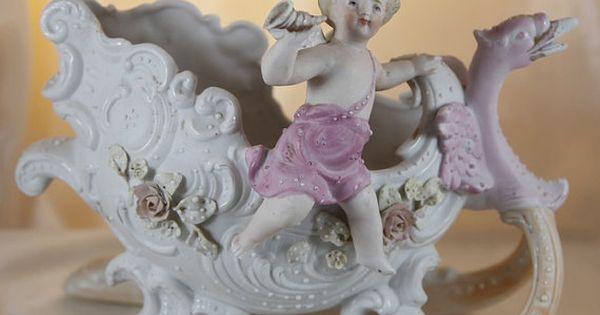 Antique German Porcelain Bisque Figurine Putti Cherib