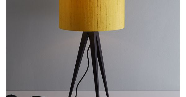 YVES BLACK Metal table lamp with yellow silk shade