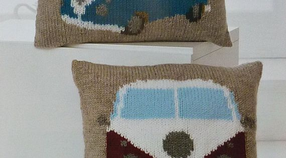 Vw Campervan Knitting Pattern : Cushion Knitting Pattern K4324 VW Campervan Cushions Knitting Pattern in Chun...