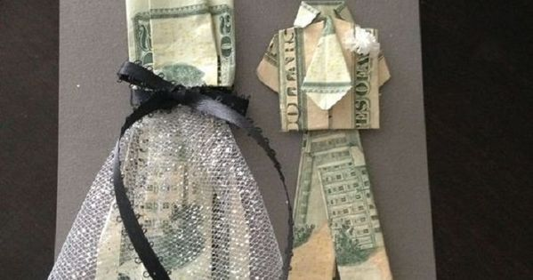 Creative Wedding Gift Ideas To Make: Bride And Groom Money Origami. A DIY Gift Idea For A