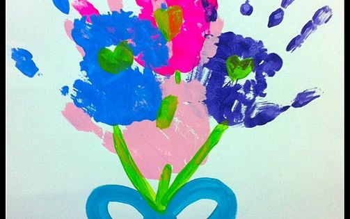 Pretty handprint flower bouquet. Mother's Day gift for Granny?