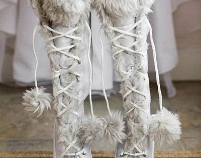 Great Fur boots for a winter wedding! AntonioGualforTulleNewYork WinterWonderland WinterWedding SnowWhite Love