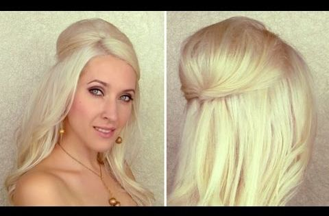Half updo with curls and bump/poof with hidden bobby pins Hair extensions
