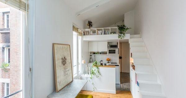 Duplex dans 25 m² Small studio living Pinterest Interieur and - renovation electricite maison ancienne