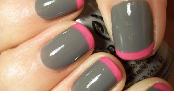 Gray nail polish w/ pink tips