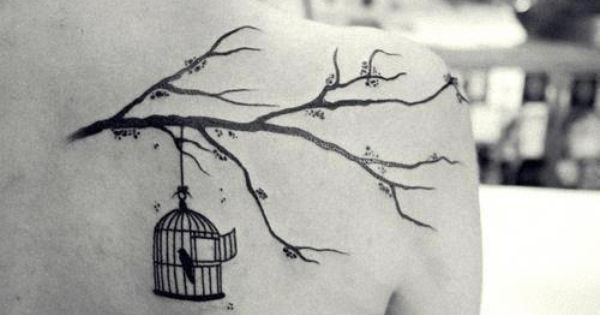 bird, cage, tattoo, tree branch, if I ever got a tattoo