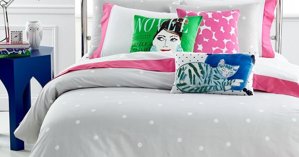Kate Spade New York Deco Dot Platinum Full Queen Duvet