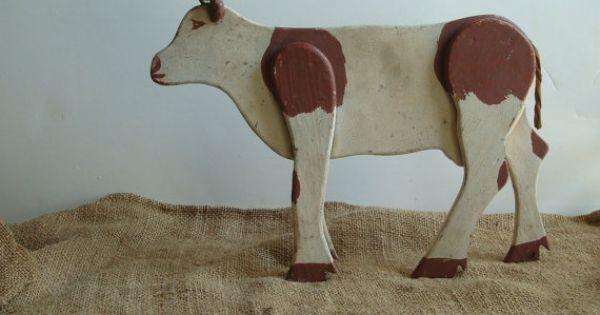 vintage folk art texas longhorn cattle 1940s handmade
