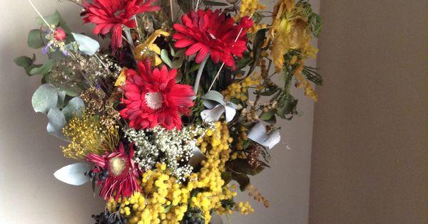 Flores secas con flores artificiales jarrones flores - Arreglos florales con flores secas ...