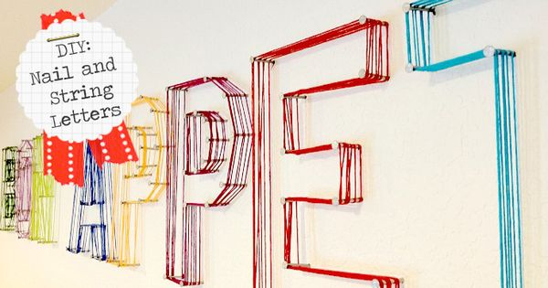 jk jk: DIY: Nail and String Letters. Great idea for empty space