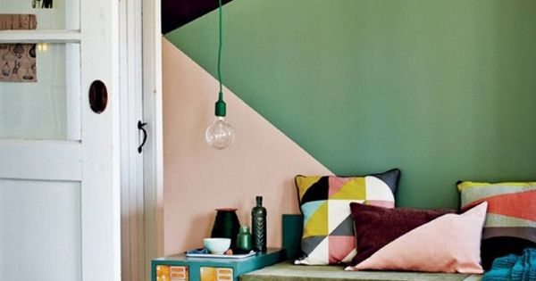 mur graphique peinture via vtwonen color board pinterest triangles et chambres. Black Bedroom Furniture Sets. Home Design Ideas