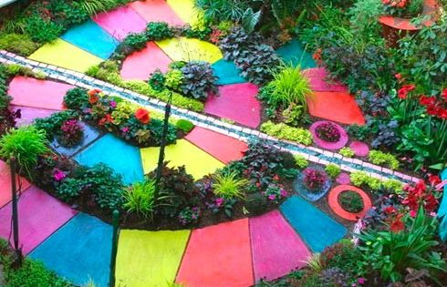Childrens Garden Ideas marking your territory Colorful Garden Path Cool Idea For Kids Garden Ideas You Can Lead A Horticulture But You Cant Make Her Think Pinterest Garden Paths Paths And