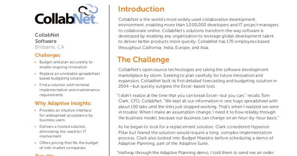 Adaptive Insights Collabnet  A Customer Success Story By