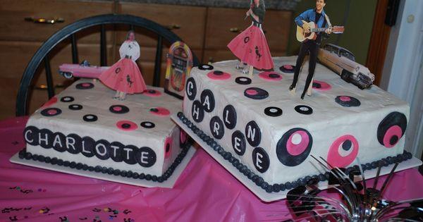 50s Theme Border Paper Birthday Cake
