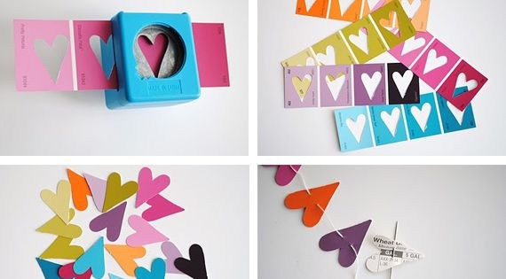I love the idea of using (free) paint chips! Paper punch heart