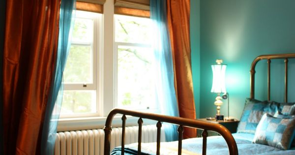 Bedroom Done In Teal And Copper A Mix Of Bohemian Chic And