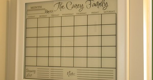 Wipe off family calendar! Love this idea!