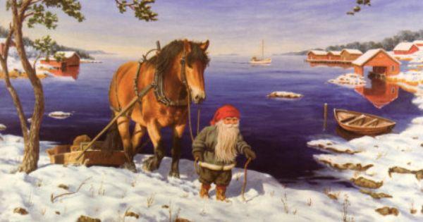 Scandinavian Swedish Christmas Poster Print Bunny Tomte Gnome J Bergerlind BO523
