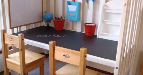 Up-cycle an old crib into a craft desk for the little ones.