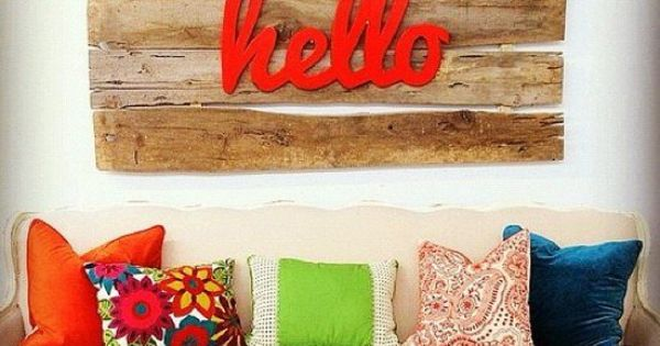 hello sign with bright colors in living room