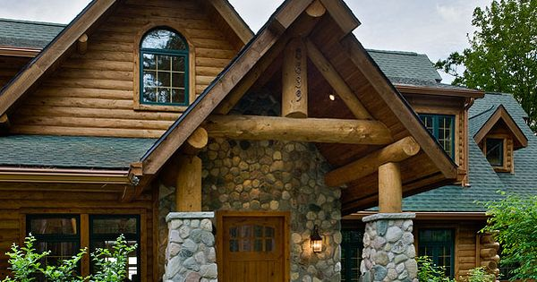 River rock front brick stone exteriors pinterest log for Log and brick home