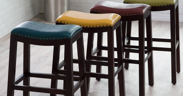 Belham Living Hutton Leather Backless Saddle Bar Stool