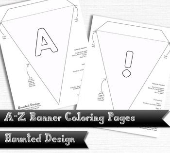 A Z Banner Coloring Pages Pdf Classroom Decoration Or Party Digital Download Kids Classroom Kids Classroom Decor Diy For Kids
