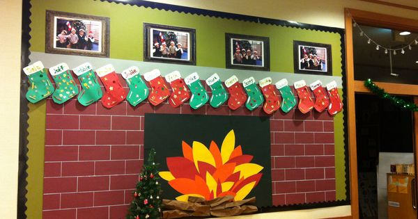 Christmas Bulletin Board Fireplace With Child Made