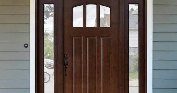 Steves sons 64 in x 80 in craftsman 3 lite arch stained mahogany wood prehung front door for Prehung hickory interior doors
