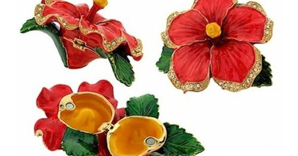 Amazon Com Red Hibiscus Flower Pewter Figurine Box Swarovski Crystals Jewelry Box Keepsake Box Kitchen Amp Din Hibiscus Flowers Keepsake Boxes Hibiscus