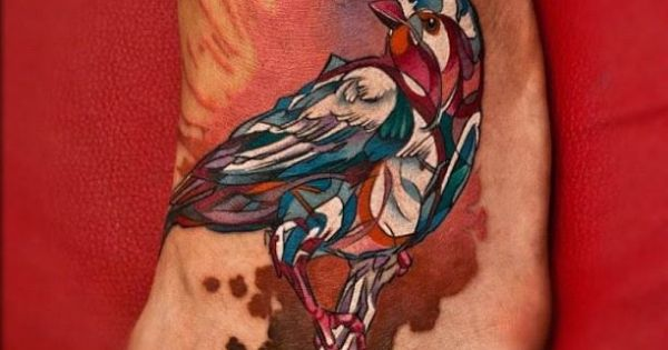 Artsy bird by David Sivak InkedMagazine art bird foot tattoo tattoos Inked