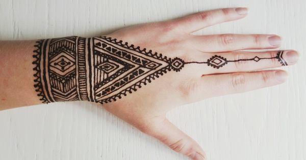 diy native tribal henna tattoo tattoos piercings. Black Bedroom Furniture Sets. Home Design Ideas