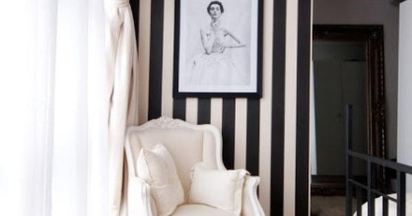 Black and white striped wallpaper home sweet home