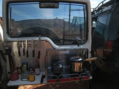 Brilliant Outdoor Kitchen Setup For An Suv With A Swing Out Back Door Land Rover Camping Truck Camping Car Camping