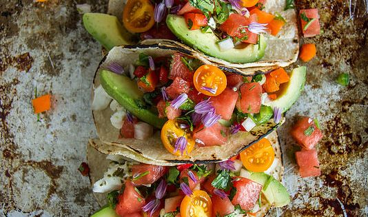 Watermelon Salsa | Halibut Tacos, Watermelon Salsa and Grilled Halibut ...