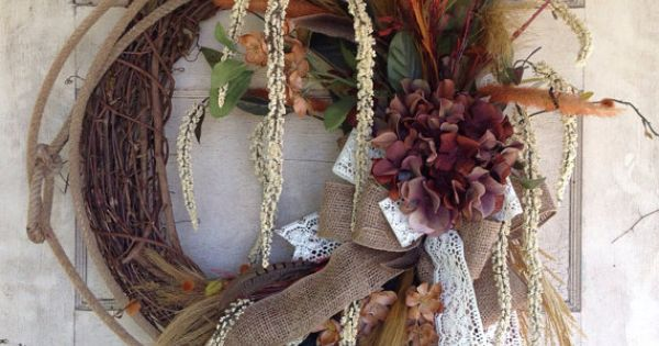 Rustic lariat rope floral wreath with burlap and lace for Rope designs and more