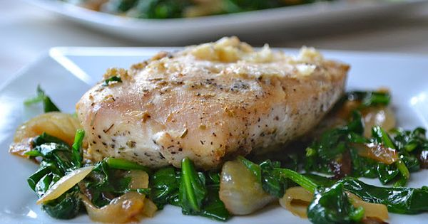 Roasted Garlic Chicken with Sauteed Spinach and Onions | Garlic ...