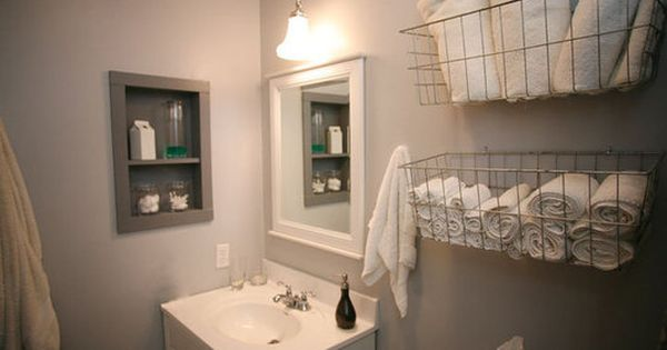 Wire Basket Love Towel Storage for small bathroom