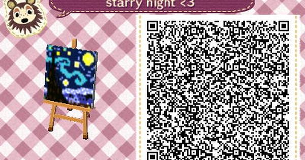 Acnl qr code painting starry night vincent van gogh ac for Animal crossing mural