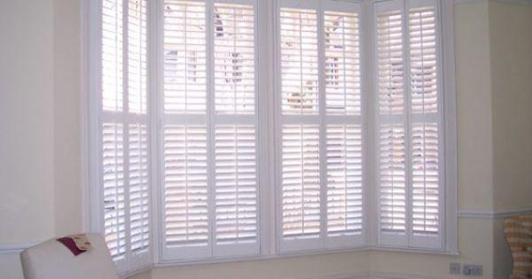 White Wood Blinds Bay Window
