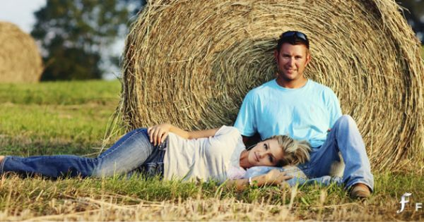 Engagement Photo w/ Hay Bale