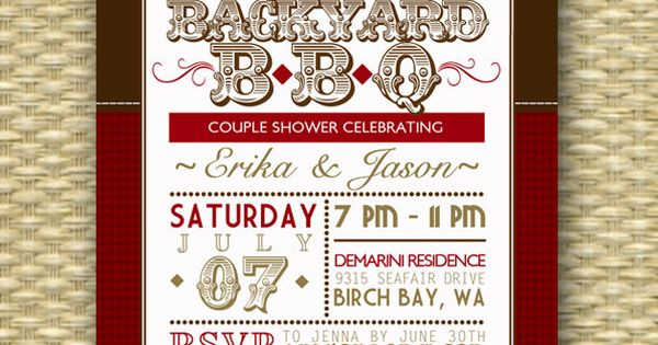 Backyard BBQ Wedding Shower Invitation, Rustic Country Western Couples