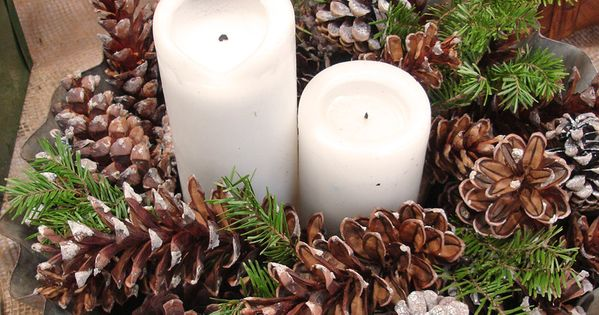 Pine cone candle centerpiece crafts pinterest