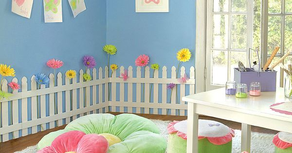 Love the flower pillow seats and the white picket fence!! So many