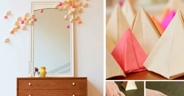 Use leftover pretty Christmas wrapping paper to make these Origami projects
